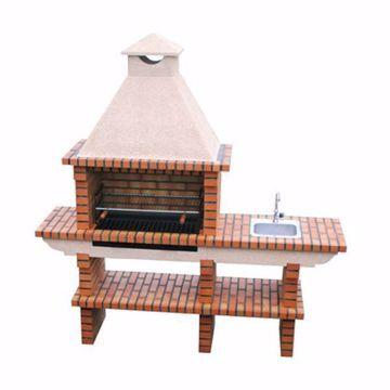 Barbecue en brique du Portugal, grill 80 cm, évier, espace de travail et cheminée