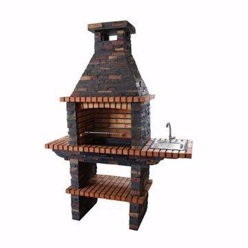 Barbecue en pierre avec évier, grill 60cm et cheminée
