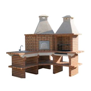 Cuisine extérieure d'angle avec four à pizza 75cm, évier en INOX, plan de travail cuisine et grill 60 cm